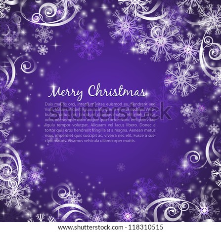 Elegant christmas purple background with snowflakes and lights - stock vector