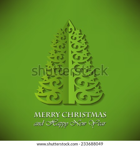 Elegant Christmas tree (cut paper) on Green Background - stock vector