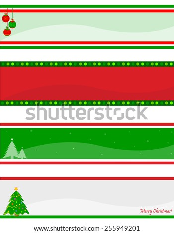 Elegant christmas web header / banner collection with decorative christmas tree and ornaments - stock vector