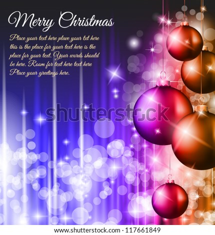 Elegant Classic Christmas Background with new red baubles and a lot of colorful glitters for a magic atmosphere. Idea for celebratiion or invitation flyers. - stock vector