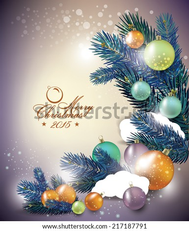 Elegant Classic Christmas flyer with tree leaves - stock vector