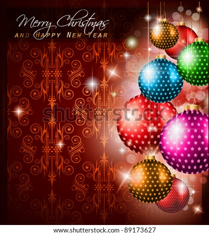 Elegant Classic Christmas Greetings background for flyers, invitations, cards or posters. New Baubleswith stars and Rainbow colours - stock vector