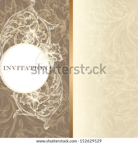 Elegant classic wedding invitation or menu. Retro vector - stock vector