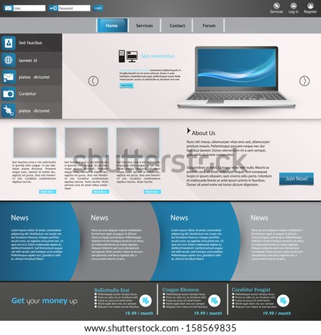 Elegant Clean Website Template  - stock vector