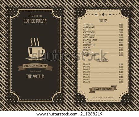 Elegant coffee house menu design list template with decorative elements vector illustration in brown colors retro style - stock vector