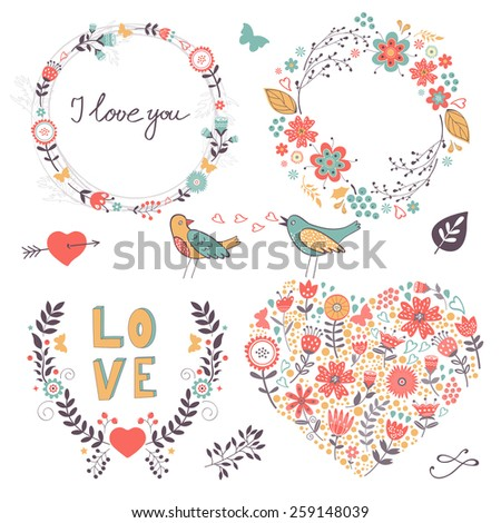 Elegant collection of romantic graphic elements. Ideal for wedding invitations, greeting cards and valentines day cards  - stock vector