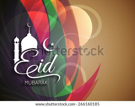 Elegant colorful Eid Mubarak background design. - stock vector