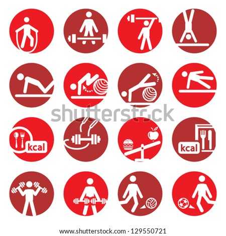 Elegant Colorful Fitness And Sport Icons Set Created For Mobile, Web And Applications. - stock vector