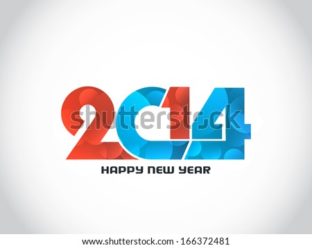 elegant colorful text design of happy new year 2014. vector illustration