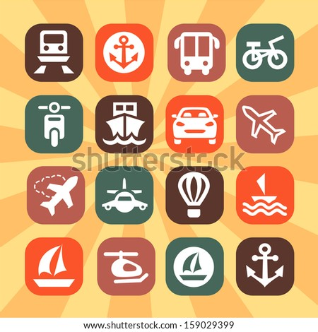 Elegant Colorful Transportation Icons Set Created For Mobile, Web And Applications. - stock vector
