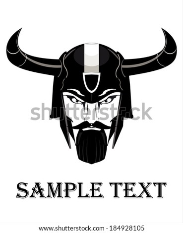 Elegant Commander with Horns, in black and white. - stock vector