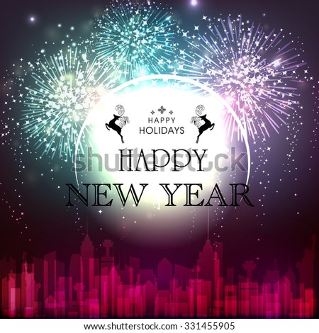 Elegant creative greeting card design with fireworks on urban city background for Happy New Year and Happy Holidays celebration. - stock vector