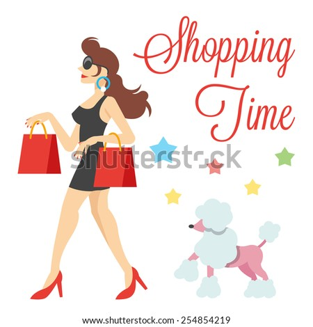 Elegant cute women with long brown hair, red shoes, shopping bags and poodle vector illustration.Modern art depicted shopping time concept.Creative graphic design elements.Isolated on white background - stock vector