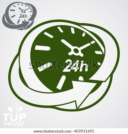 Elegant 3d vector round 24 hours clock, around-the-clock pictogram. Twenty-four hours a day conceptual stylized icon. Business time management illustration. - stock vector
