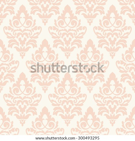 Elegant damask wallpaper. Vintage pattern. Seamless classic background. - stock vector
