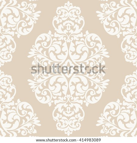 Elegant damask wallpaper. Vintage pattern. Seamless classic vector background. - stock vector