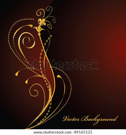 elegant dark and gold vector background - stock vector