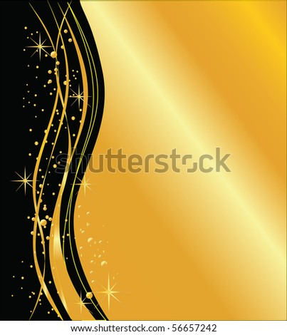 elegant dark  and golden background, vector - stock vector