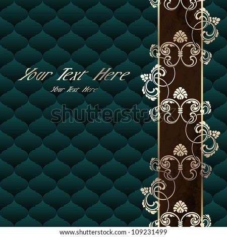 Elegant dark green Rococo background with ornamental margin (EPS10); jpg version also available - stock vector