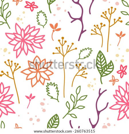Elegant Decorative Background with Leaves and Flowers. Isolated Floral Seamless Pattern. Vector Colorful Seasonal Illustration.