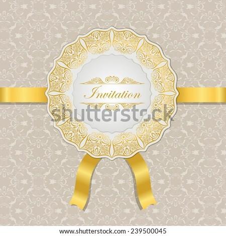 Elegant decorative cream invitation card with gold ornament and calligraphic inscription. - stock vector