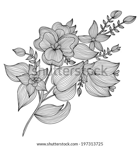 Elegant decorative flowers, design element. Floral branch. Floral decoration for vintage wedding invitations, greeting cards, banners. - stock vector