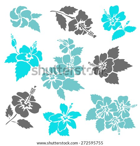 Elegant decorative hibiscus flowers, design elements. Floral branch. Floral decoration for vintage wedding invitations, greeting cards, banners. - stock vector