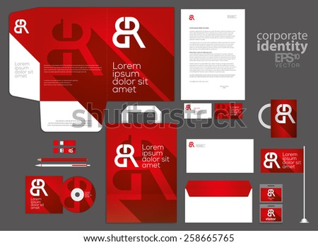 Elegant deep red corporate identity template design. Letter combination logo. Vector company style. - stock vector