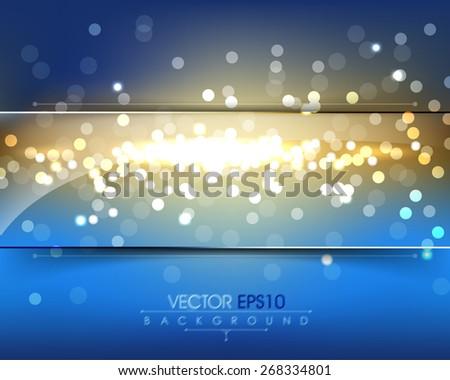 elegant defocused night lights with rectangular transparent glass frame eps10 vector background - stock vector