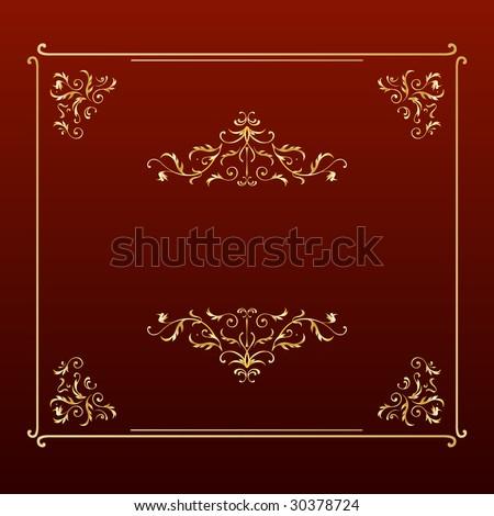 Elegant design square frame golden floral on red background - stock vector