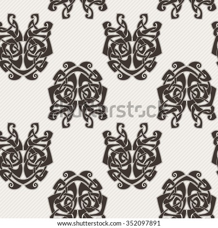 Elegant difficult curled ornamental gothic tattoo seamless pattern. Celtic style. Maori. Weaving. Monochrome image.