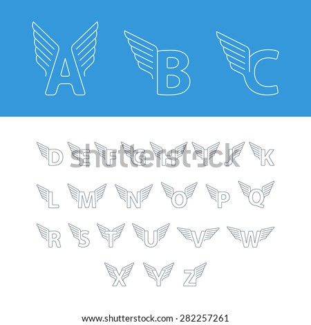 Elegant dynamic alphabet letters with wings. Linear design. Can be used for any transportation service or in sports areas. - stock vector