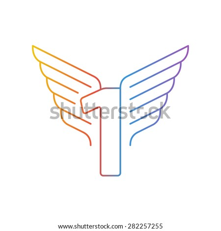 Elegant dynamic number with wings. Linear design. Can be used for any transportation service or in sports areas.