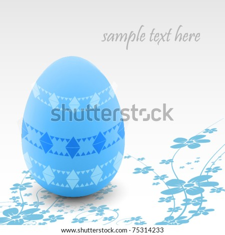 Elegant easter background with blue egg and small flowers - stock vector