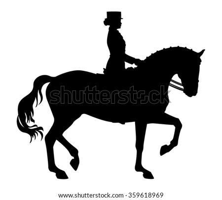 Elegant female rider and Dressage horse silhouette isolated