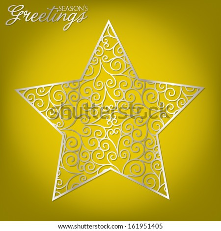 Elegant filigree Christmas card in vector format. - stock vector