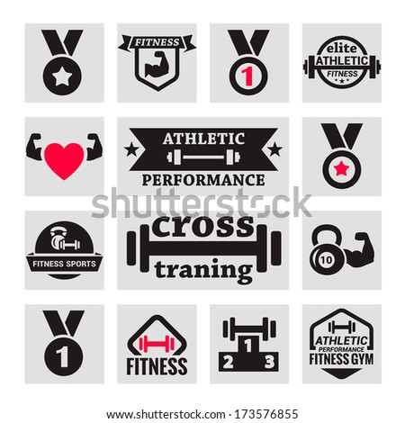 Elegant Fitness and Health Icons Set. - stock vector