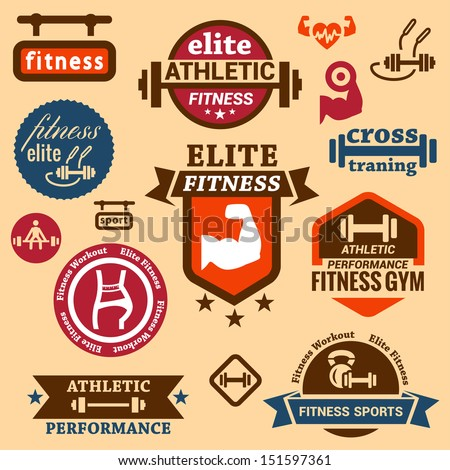 Elegant Fitness and Sport Vector Labels and logos. - stock vector