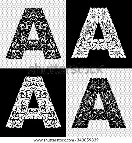 Elegant floral alphabet on white background - stock vector