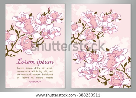 Elegant floral background for your card, flyer, invitation. Template with flowering branches. Magnolia blossoms vector background.