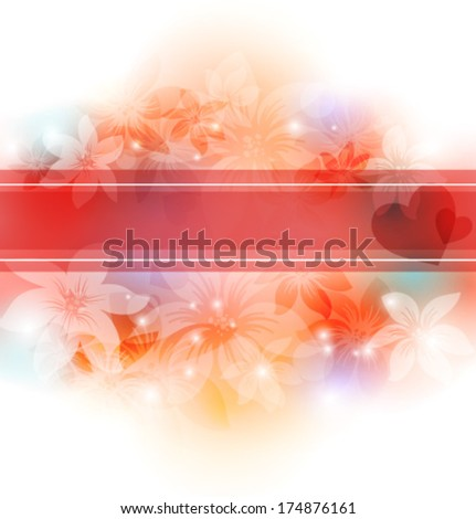 Elegant floral background with transparent flowers. EPS10 - stock vector