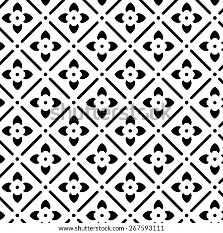 Elegant floral black and white vector pattern. - stock vector