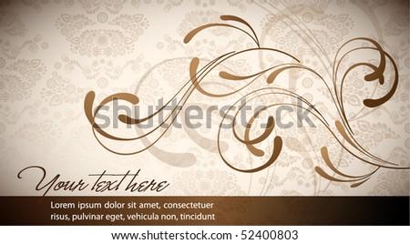 Elegant Floral Business Card with Seamless Vintage Damask - stock vector