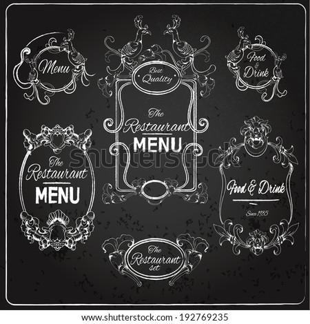 Elegant floral calligraphy chalkboard restaurant menu labels vector illustration - stock vector