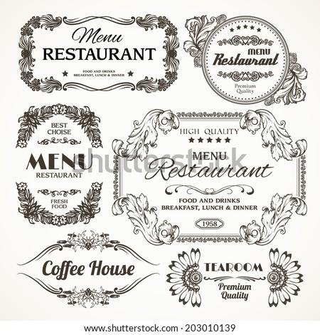 Elegant floral calligraphy retro style decoration restaurant menu labels set isolated vector illustration - stock vector