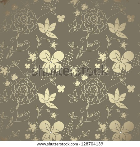 Elegant floral cute hand-drawn wallpaper - stock vector