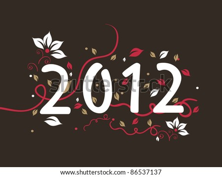 elegant floral design happy new year background with decorated 2012 text - stock vector