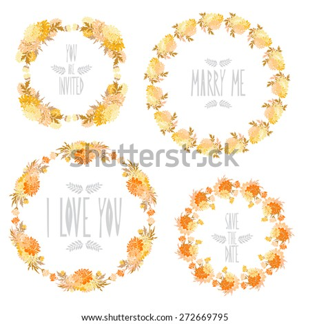 Elegant floral frames with chrysanthemum flowers, design elements. Can be used for wedding, baby shower, mothers day, valentines day, birthday cards, invitations. Vintage decorative flowers. - stock vector