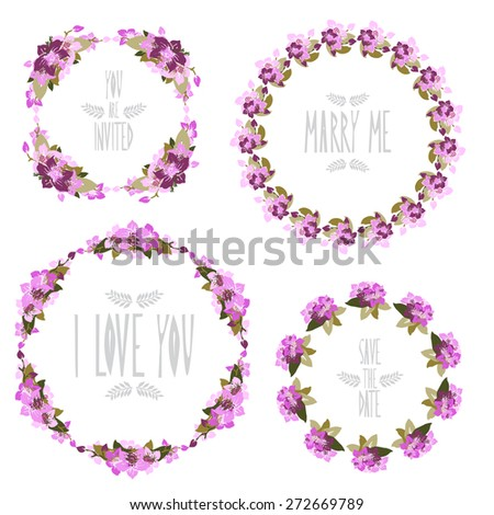 Elegant floral frames with orchid flowers, design elements. Can be used for wedding, baby shower, mothers day, valentines day, birthday cards, invitations. Vintage decorative flowers. - stock vector
