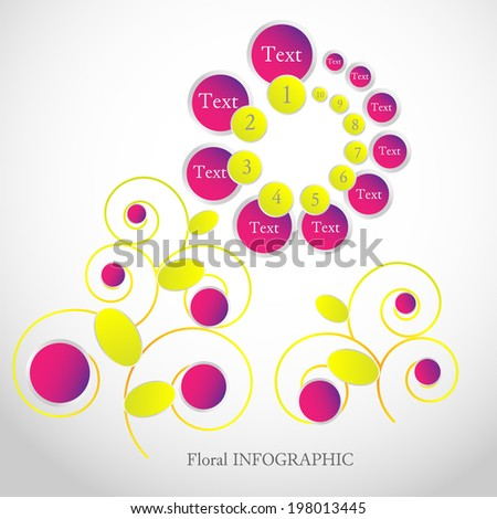 Elegant floral infographic element. Flower's stylized petals include numbers and text and can illustrate some list of data that has different priority. - stock vector